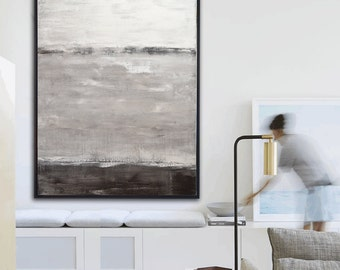 Original Huge 40x60 Abstract Painting Large 5ft Modern Art 40x60 White Taupe Coffee Contemporary Oil painting READY TO SHIP by Sky Whitman