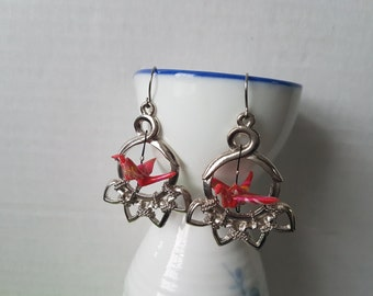 Origami crane earrings of red paper in silver hoop with hearts