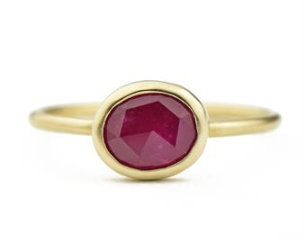 14K Gold Rose Cut Ruby Ring, One of a Kind 14K Gold Ruby Ring