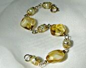 Vintage 50s Bracelet Butterscotch Glass Faux Pearl Jewelry Beads