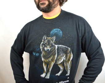 Vintage 80s Wolf Howl Night Sweatshirt - California