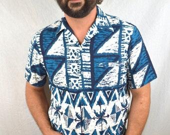 Vintage 1960s 60s Hoaloha Hawaiian Barkcloth Shirt - Hapa Jac