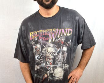 Vintage 90s Scary Evil Skull All-Over-Print Biker Tee Tshirt - Brothers in the Wind