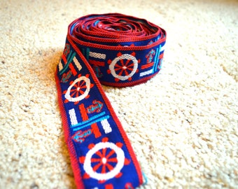 Vintage Nautical Anchor Long Woven Trim Ribbon - For Projects