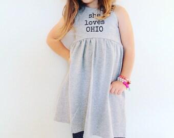 She loves, Dress, Gray and Black, toddler dress, girls dress