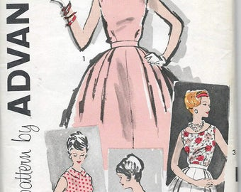 Uncut, Misses Size 16, Vintage 1950s Sewing Pattern, Advance 9447, 2 Piece Dress, Skirt, Blouse, Top, Fit and flare, at the Knee, Bishop