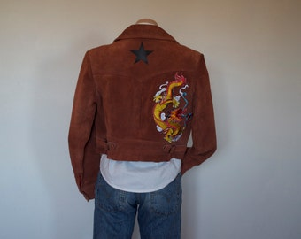 Burnt Orange Dragon Star Patch Cropped Suede Surplus Jacket
