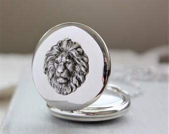 Lion Pocket Watch Necklace