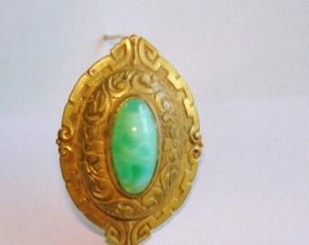 Green Jade Gold Tone Brooch