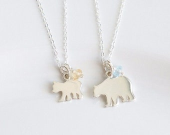 Mama Bear Necklace - Mommy Daughter Gift - Mother Daughter Necklace Sterling Silver - Mom Daughter Necklace - Mommy and Me Gift - Mom and Me