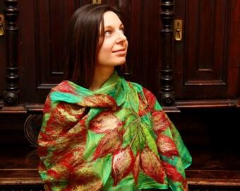 Nuno felted scarf shawl merino wool and silk - Bright summer