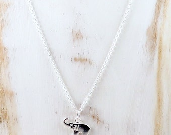 Sterling Silver Elephant Necklace, Tiny Elephant Pendant, Lucky Necklace, Good Luck Elephant