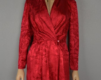 80s Red Silk Dress Wrap Dress Long Sleeve Knee Length With Matching Belt 80s Clothing Size 2 Epsteam