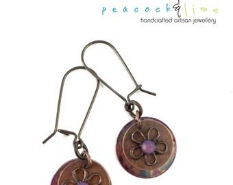 flame kissed copper & swarovski flower earrings // pretty dainty dangle earrings // bohemian hippie free spirit festival style