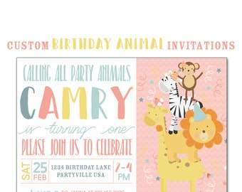 Animal Birthday Party Invitation, Custom Jungle Animal Birthday Party,  5x7 Birthday Invitations, 1st Birthday Invite, Lion, Giraffe, Monkey