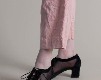 Vintage 60s Black Mesh Lace Up Heels / Peep Toe Heels / 9