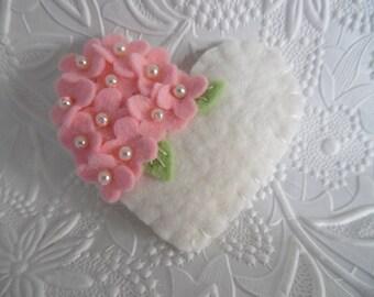 Pink Felt Flower Brooch Mothers Day Beaded Heart Mom Wool Beaded Flowers