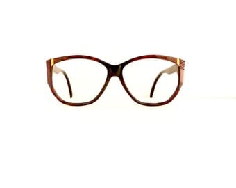 80's 90's Cat Eye Eyeglasses Sunglasses Women's Vintage 1980's 1990's Black with Red Pattern & Gold Detail Frames #M734 DIVINE