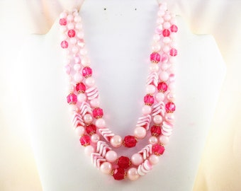 Vintage West Germany Pink and White Glass and Lucite Multistrand Necklace (N-2-1)
