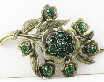 Antique Vintage 1930s Little Nemo Green Rhinestone Floral Bouquet Brooch Pin (B-3-1)