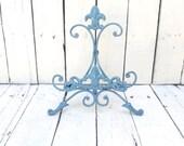 Bahama Blue Easel, Metal Easel, Book Stand, Art Prop, Shabby Cottage Chic, Fleur De Lis, Parisian Chic, French Country, Paris Apartment
