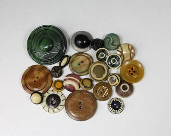 Vintage Celluloid Button Lot Brown Green Mixed Pattern Buttons Tight Top  Bubble Top Wafer Celluloid Mixed Lot 23 buttons