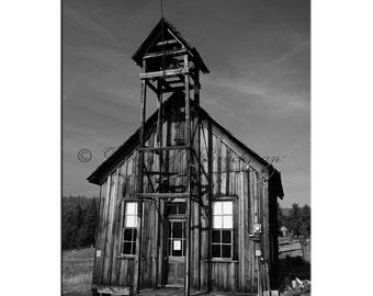 Mining Town School Photo - Rustic School House Photos - Oregon Mining Town Photos - Ghost Town Gifts for Teachers - Black White Mining Decor