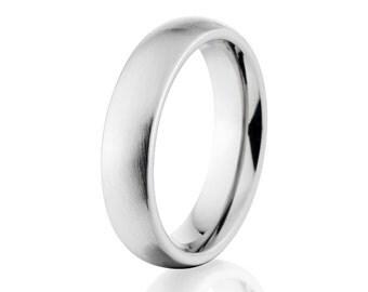 Men's Cobalt Rings, Center Stone Finish, Cobalt Wedding Rings: COB-4HR-ST