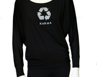 Karma | Flowy Long-Sleeve Off Shoulder T-Shirt