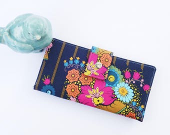 Wallet clutch, womens handmade bifold wallet in navy floral gift for wife gift for woman mothers day gift vegan wallet clutch