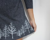 Winter Forest - heathered blue skaterdress with handpainted trees