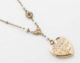 Heart Locket, Vintage Locket Necklace in Gold Filled with White Opal, Flower Charm, Leaf & Floral Engraving, Antique Jewelry, Womens Gift