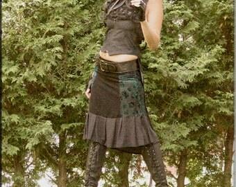 Skirt - Steampunk - Burning Man - Bohemian - Playa Wear - Gypsy Boheme - Sexy - Turquoise and Black - Knee Length - Size Small