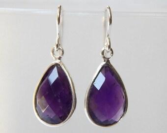 Amethyst Earrings - Sterling Silver Bezel Set Drop Earrings Faceted Amethyst Stones Pear Cut Dangle Earrings