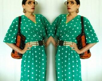 teal green polka dot 90s wrap dress - 1211275