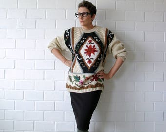 hand knit cozy vintage floral sweater - 1211184