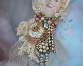White queen brooch-- mixed media hand painted and beaded brooch wearable art