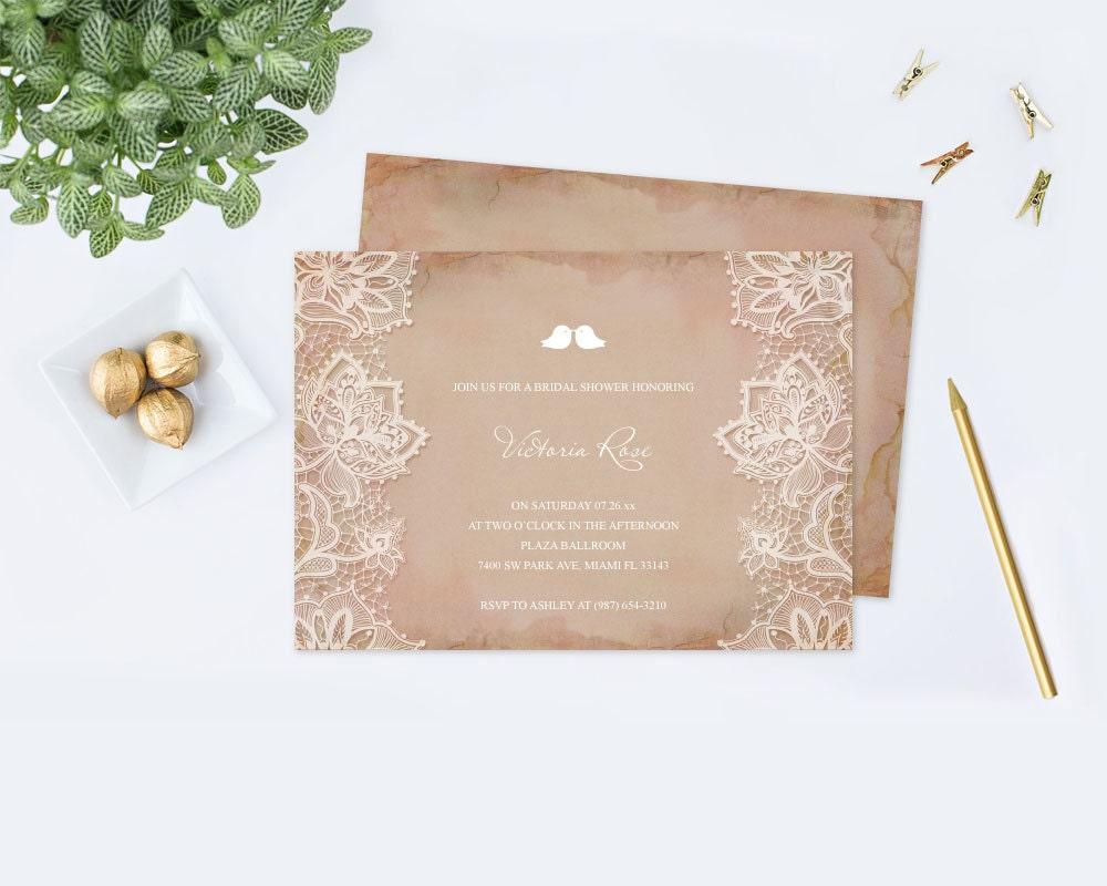 DIY Vintage Lace Bridal Shower Invitation Printable Lace