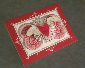 """Handmade Valentines Day Card - 5"""" x 7"""" - Anna Griffin So Smitten - To My Love Flying Heart - Paper Medallion"""
