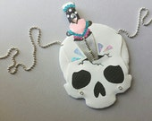 Dagger Skull with holographic shards - Statement Necklace