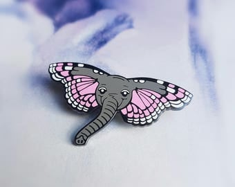 Butterphant Pin - Hard Enamel Pin - Pink