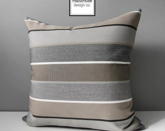Brown & Grey Outdoor Pillow Cover, Decorative Striped Throw Pillow Case, Taupe Stripes, Modern Sunbrella Cushion Cover Masculine Pillow Case