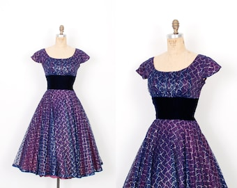 Vintage 1950s Dress / 50s Metallic Lace and Velvet Party Dress / Royal Purple ( small S )