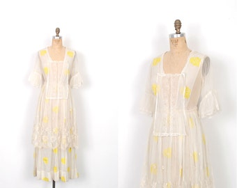 Vintage Edwardian Dress / 1910s Edwardian Embroidered Cotton and Mesh Dress / White and Yellow ( small S )