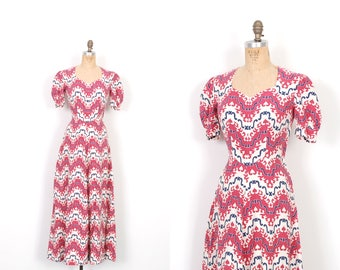 Vintage 1940s Dress / 40s Printed Linen Maxi Dress / Red White Blue ( small S )