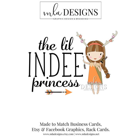 Boho Logo Premade Logos Girl Indian Indie