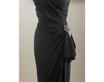 Dorothy O'hara Rare One Shoulder 50's Designer Wiggle Dress with Sash and Pin