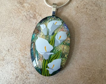 Dichroic Fused Glass Jewelry - Calla Lily Fused Glass Pendant and Necklace, Flowers - 48-13