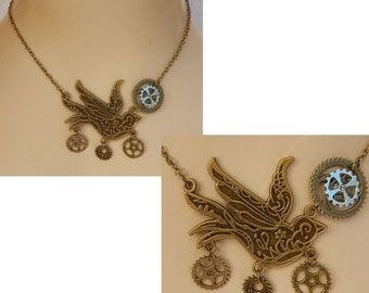 Gold Steampunk Bird Pendant Necklace Jewelry Handmade NEW Accessories Adjustable Chain Gears