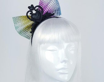 Rainbow Mesh Bow and Black Heart Headband handmade quirky headwear gothic kawaii colourful fascinator
